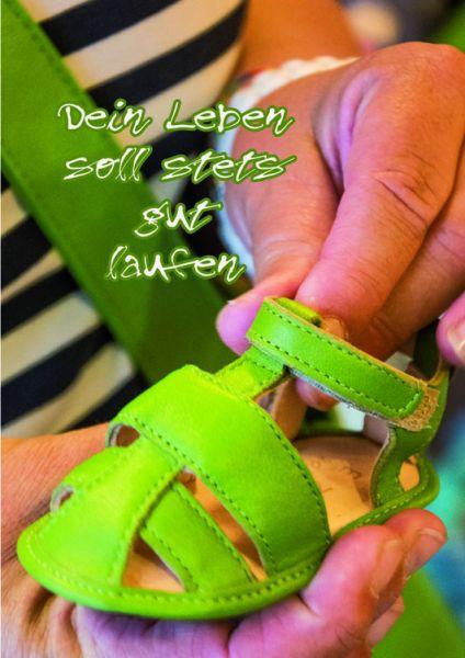 """Klappkarte Grußkarte mit Text """"Dein Leben soll stets gut laufen"""" Schuh"""