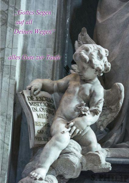 """Klappkarte Grußkarte """"Gottes Segen auf all Deine Wegen"""" Taufe Engel"""