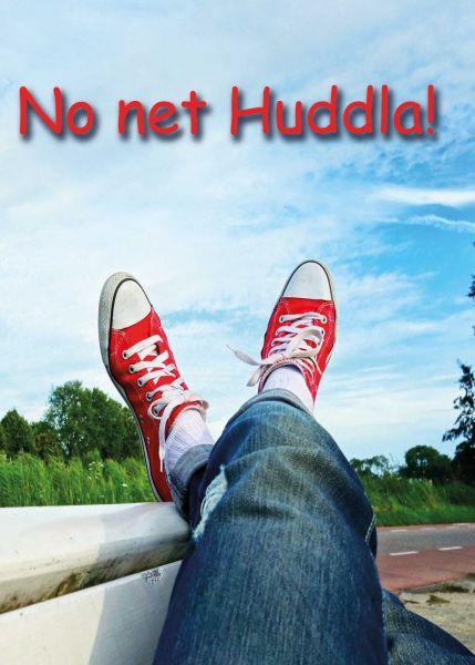 """Postkarte groß schwäbisch """"No net Huddla""""  hochgelegte Beine"""